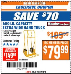 Harbor Freight ITC Coupon 600 LB CAPACITY EXTRA WIDE HAND TRUCK Lot No. 66171 Expired: 7/10/18 - $79.99