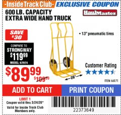 Harbor Freight ITC Coupon 600 LB CAPACITY EXTRA WIDE HAND TRUCK Lot No. 66171 Expired: 3/24/20 - $89.99
