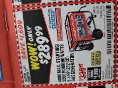 Harbor Freight Coupon 4000 MAX. STARTING/3200 RUNNING WATTS 6.5HP (212 CC) GAS GENERATOR Lot No. 69729/63080/63079/63090/63089 Expired: 11/30/18 - $289.99