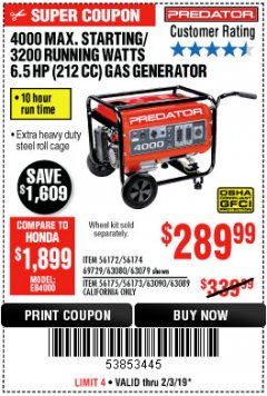 Harbor Freight Coupon 4000 MAX. STARTING/3200 RUNNING WATTS 6.5HP (212 CC) GAS GENERATOR Lot No. 69729/63080/63079/63090/63089 Expired: 2/3/19 - $289.99