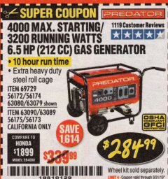 Harbor Freight Coupon 4000 MAX. STARTING/3200 RUNNING WATTS 6.5HP (212 CC) GAS GENERATOR Lot No. 69729/63080/63079/63090/63089 Expired: 3/31/19 - $284.99
