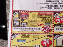 Harbor Freight Coupon 4000 MAX. STARTING/3200 RUNNING WATTS 6.5HP (212 CC) GAS GENERATOR Lot No. 69729/63080/63079/63090/63089 Valid Thru: 5/18/19 - $289.99