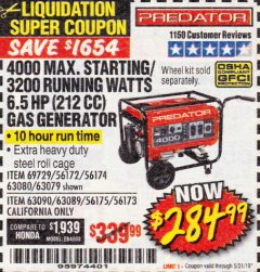Harbor Freight Coupon 4000 MAX. STARTING/3200 RUNNING WATTS 6.5HP (212 CC) GAS GENERATOR Lot No. 69729/63080/63079/63090/63089 EXPIRES: 5/31/19 - $284.99