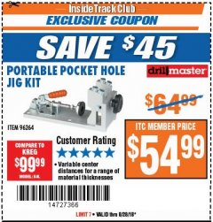 Harbor Freight ITC Coupon PORTABLE POCKET HOLE JIG KIT Lot No. 96264 Expired: 8/28/18 - $54.99