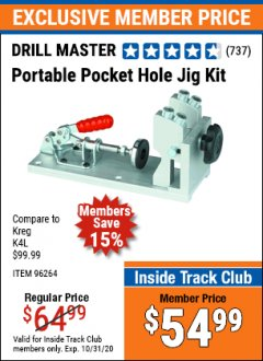 Harbor Freight ITC Coupon PORTABLE POCKET HOLE JIG KIT Lot No. 96264 Expired: 10/31/20 - $54.99