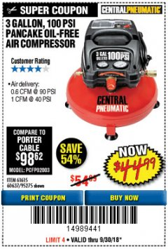 Harbor Freight Coupon 3 GALLON, 100 PSI PANCAKE OIL-FREE AIR COMPRESSOR Lot No. 61615/60637/95275 Expired: 9/30/18 - $44.99