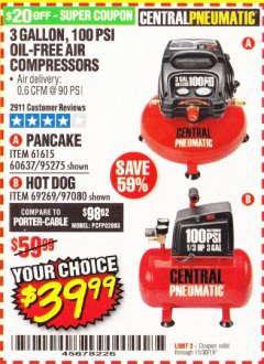 Harbor Freight Coupon 3 GALLON, 100 PSI PANCAKE OIL-FREE AIR COMPRESSOR Lot No. 61615/60637/95275 Expired: 11/30/19 - $39.99