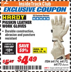Harbor Freight ITC Coupon PIGSKIN LEATHER WORK GLOVES Lot No. 64174/64172/64173 Valid Thru: 12/31/19 - $4.49