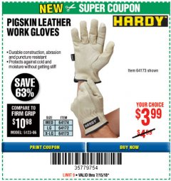 Harbor Freight Coupon PIGSKIN LEATHER WORK GLOVES Lot No. 64174/64172/64173 Expired: 7/15/18 - $3.99