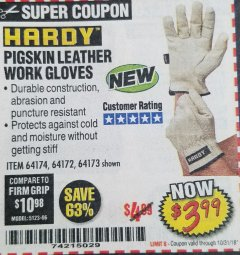 Harbor Freight Coupon PIGSKIN LEATHER WORK GLOVES Lot No. 64174/64172/64173 Expired: 10/31/18 - $3.99