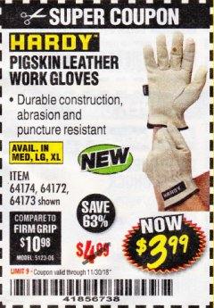 Harbor Freight Coupon PIGSKIN LEATHER WORK GLOVES Lot No. 64174/64172/64173 Expired: 11/30/18 - $3.99