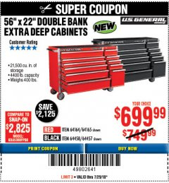 "Harbor Freight Coupon 56"" X 22"" DOUBLE BANK EXTRA DEEP CABINETS Lot No. 64458/64457/64164/64165 Expired: 7/29/18 - $699.99"