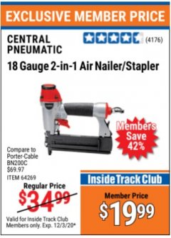 Harbor Freight ITC Coupon 18 GAUGE, 2-IN-1 NAILER/STAPLER Lot No. 63156/64269/68019 Expired: 12/3/20 - $19.99