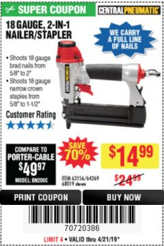Harbor Freight Coupon 18 GAUGE, 2-IN-1 NAILER/STAPLER Lot No. 63156/64269/68019 Expired: 4/21/19 - $14.99