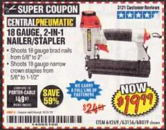 Harbor Freight Coupon 18 GAUGE, 2-IN-1 NAILER/STAPLER Lot No. 63156/64269/68019 Expired: 10/31/19 - $19.99