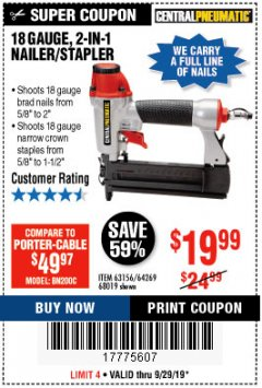 Harbor Freight Coupon 18 GAUGE, 2-IN-1 NAILER/STAPLER Lot No. 63156/64269/68019 Expired: 9/30/19 - $19.99