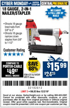 Harbor Freight Coupon 18 GAUGE, 2-IN-1 NAILER/STAPLER Lot No. 63156/64269/68019 Expired: 12/1/19 - $15.99