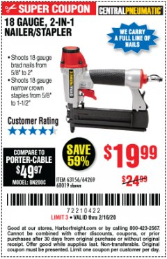 Harbor Freight Coupon 18 GAUGE, 2-IN-1 NAILER/STAPLER Lot No. 63156/64269/68019 Expired: 2/16/20 - $19.99