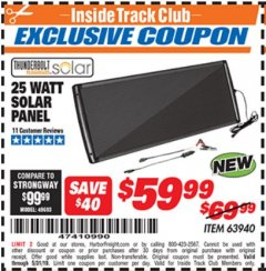 Harbor Freight ITC Coupon 25 WATT SOLAR PANEL Lot No. 63940 Dates Valid: 5/3/19 - 5/31/19 - $59.99