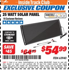 Harbor Freight ITC Coupon 25 WATT SOLAR PANEL Lot No. 63940 Expired: 8/31/19 - $54.99