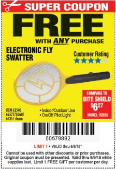 Harbor Freight FREE Coupon ELECTRIC FLY SWATTER Lot No. 61351/40122/62540/62577 Expired: 9/9/18 - FWP