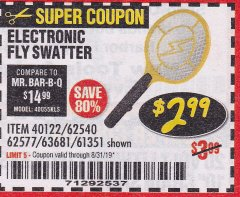 Harbor Freight Coupon ELECTRIC FLY SWATTER Lot No. 61351/40122/62540/62577 Expired: 8/31/19 - $2.99