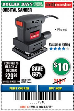 "Harbor Freight Coupon 1/4"" SHEET ORBITAL PALM SANDER Lot No. 61509/61311 Expired: 8/5/18 - $10"