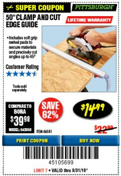 "Harbor Freight Coupon 50"" CLAMP AND CUT EDGE GUIDE Lot No. 66581 Expired: 8/31/18 - $14.99"