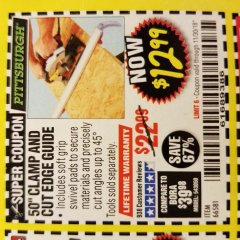 "Harbor Freight Coupon 50"" CLAMP AND CUT EDGE GUIDE Lot No. 66581 Expired: 11/30/18 - $12.99"