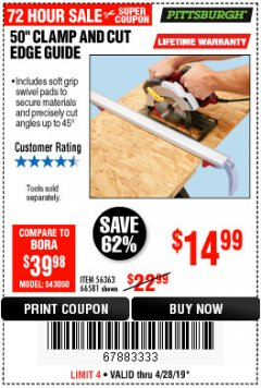 "Harbor Freight Coupon 50"" CLAMP AND CUT EDGE GUIDE Lot No. 66581 Expired: 4/28/19 - $14.99"
