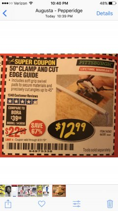 "Harbor Freight Coupon 50"" CLAMP AND CUT EDGE GUIDE Lot No. 66581 Valid Thru: 8/31/19 - $12.99"