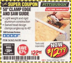 "Harbor Freight Coupon 50"" CLAMP AND CUT EDGE GUIDE Lot No. 66581 Expired: 11/30/19 - $12.99"
