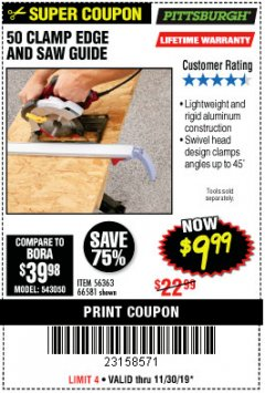 "Harbor Freight Coupon 50"" CLAMP AND CUT EDGE GUIDE Lot No. 66581 Expired: 11/30/19 - $9.99"