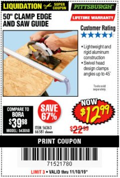 "Harbor Freight Coupon 50"" CLAMP AND CUT EDGE GUIDE Lot No. 66581 Expired: 11/10/19 - $12.99"