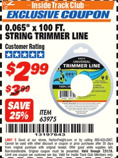 "Harbor Freight ITC Coupon 0.065"" X 100 FT. STRING TRIMMER LINE Lot No. 63975 Expired: 7/31/18 - $2.99"