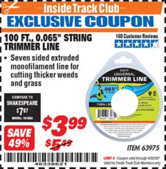 "Harbor Freight ITC Coupon 0.065"" X 100 FT. STRING TRIMMER LINE Lot No. 63975 Expired: 4/30/20 - $3.99"