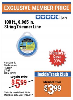 "Harbor Freight ITC Coupon 0.065"" X 100 FT. STRING TRIMMER LINE Lot No. 63975 Expired: 1/28/21 - $3.99"