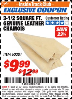Harbor Freight ITC Coupon 3-1/2 SQUARE FT. GENUINE LEATHER CHAMOIS Lot No. 60301 Expired: 7/31/18 - $9.99