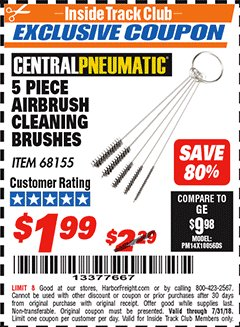 Harbor Freight ITC Coupon 5 PIECE AIRBRUSH CLEANING BRUSHES Lot No. 68155 Expired: 7/31/18 - $1.99