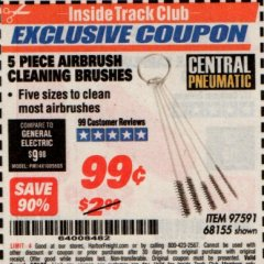 Harbor Freight ITC Coupon 5 PIECE AIRBRUSH CLEANING BRUSHES Lot No. 68155 Expired: 7/31/19 - $0.99