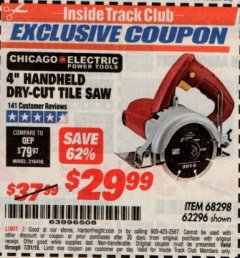 "Harbor Freight ITC Coupon 4"" HANDHELD DRY-CUT TILE SAW Lot No. 68298/62296 Expired: 7/31/19 - $29.99"