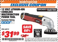 Harbor Freight ITC Coupon 12 VOLT LITHIUM-ION CORDLESS MULTIFUNCTION POWER TOOL Lot No. 68012 Expired: 11/30/18 - $31.99