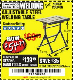 Harbor Freight Coupon ADJUSTABLE STEEL WELDING TABLE Lot No. 63069/61369 Expired: 6/1/19 - $54.99