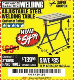 Harbor Freight Coupon ADJUSTABLE STEEL WELDING TABLE Lot No. 63069/61369 Expired: 6/15/19 - $54.99