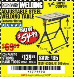 Harbor Freight Coupon ADJUSTABLE STEEL WELDING TABLE Lot No. 63069/61369 Expired: 10/1/19 - $54.99
