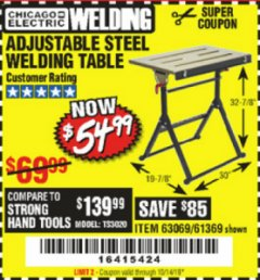 Harbor Freight Coupon ADJUSTABLE STEEL WELDING TABLE Lot No. 63069/61369 Expired: 10/14/19 - $54.99