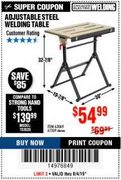 Harbor Freight Coupon ADJUSTABLE STEEL WELDING TABLE Lot No. 63069/61369 Expired: 8/4/19 - $54.99