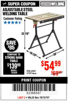 Harbor Freight Coupon ADJUSTABLE STEEL WELDING TABLE Lot No. 63069/61369 Expired: 10/13/19 - $54.99