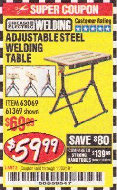 Harbor Freight Coupon ADJUSTABLE STEEL WELDING TABLE Lot No. 63069/61369 Expired: 11/30/19 - $59.99