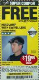 Harbor Freight FREE Coupon HEADLAMP WITH SWIVEL LENS Lot No. 45807/61319/63598/62614 Expired: 12/29/16 - FWP